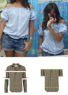 Refashion of a men's button front shirt into a cute women's off-the-shoulder blouse.
