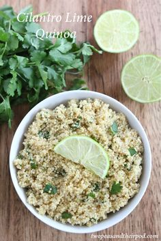 cilantro-lime-quinoa: Hubby picked this recipe and made it; it was pretty good. I think he used chicken stock and he likely did NOT follow directions to a T because that's NOT his cup of tea. :)
