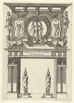 Anonymous   Schoorsteenmantel, gedecoreerd met een medaillon met een voorstelling van de drie gratiën, Anonymous, Jacques Androuet, André Wechel, 1520 - 1561   Aan weerszijden van het medaillon hangt een cartouche met een gevleugelde figuur. Uit een serie, bestaande uit een titelblad en 66 bladen met schoorsteenmantels, gedecoreerd met zuilen, hermen, cartouches, guirlandes en mascarons. Alle schoorsteenmantels zijn voorzien van haardijzers.