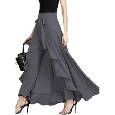 New Women Wide Leg Pants Chiffon Tie-Waist Ruffle Pants Solid Color Long Chiffon Trousers Ruffled Hem Pants For Ladies Chiffon Pants, Ruffle Pants, Ruffle Skirt, Skirt Leggings, Skirt Pants, Flowy Pants, Harem Pants, Fashion Wear, High Fashion