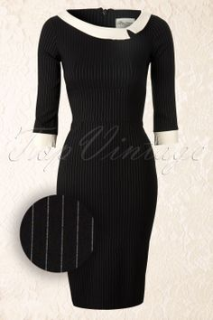 The Pretty Dress Company - Black Mistress Mad Men Vintage Pencil dress with Pinstripe