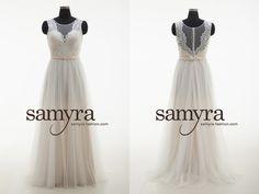 Dieses Brautkleid aus hochwertiger Spitze sowie Softtüll kann ganz elfenbeinfarben oder aber champagnerfarben/elfenbeinfarben gekauft werden. Erhältliche Grössen: 32-42