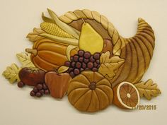 CORNUCOPIA, Horn of Plenty full size at 125%.,Intarsia wood carved by Rakowoods,wood carved gift hanging wall decor dining rooms,kitchens,