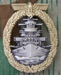"""Reproduction German WWII Kriegsmarine High Seas Fleet Badge- The badges are die-struck and copied from an original. They feature a wide back pin and the """"FEC.ADOLF BOCK AUSF.SCHWERIN BERLIN"""" maker marking."""
