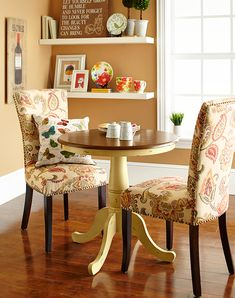 A smaller table makes a cozy nook for  breakfast.