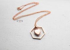 Rose Gold Hexagon Urn Necklace