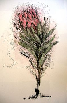 Title: Blom vir my Koning (Flower for my King) Medium: Mixed media on paper: Printing ink and thinners/chalk pastel/Pen and Ink Size: x Protea Art, List Of Paintings, Flower Drawings, Printing Ink, Hardy Plants, Decoupage Paper, Chalk Pastels, Etchings, Amazing Flowers
