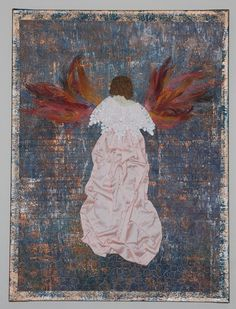Feathered Angel Art Quilt - Mounted on Painted Canvas