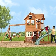 Stonefield Lodge Gym Set - Set Up Area including safety zone around play area: 30 feet 1 inch L x 33 feet 4 inches W x 16 feet 10 inches H Backyard Toys, Backyard Play, Outdoor Toys, Outdoor Play, Garden Play Equipment, Play Fort, Wooden Playset, Swing And Slide, Toys R Us Canada