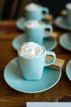 Serve hot cocoa at a cozy winter wedding.