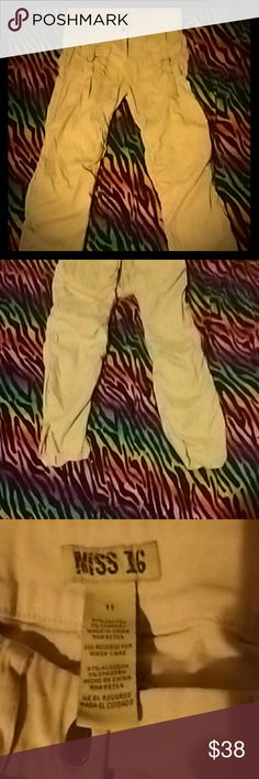 Parachute Style Khaki pants I call these my parachute pants..LOL.. They are made in a skinny jean style with elastic stretch going all the way down on both sides of both pant legs! Front has nickel pockets and back has none! Super cute statement pants! Super, super unique! Size 11 Juniors. Miss 16 brand. Super comfortable. Excellent condition.  *NOT MISS ME BRAND! (Tagged for exposure!) Miss Me Pants Skinny