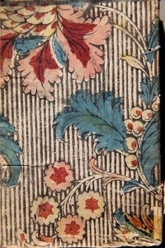 Vintage floral and striped fabric Textile Prints, Textile Patterns, Textile Design, Fabric Design, Print Patterns, Motif Floral, Floral Prints, Floral Stripe, Illustration Française