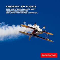 """An Aerobatics joy flight is one of those experiences that sorts out who has the """"right stuff""""! At Break Loose we have some awesome aerobatic joy flights. Do you have the stomach for it? The Right Stuff, Some Fun, Are You The One, Adventure Time, Joy, Awesome, Movie Posters, Finn Jake, Being Happy"""