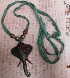 Bohemian Antiqued Brass Elephant painted and patinaed with Sari Ribbon for Necklace