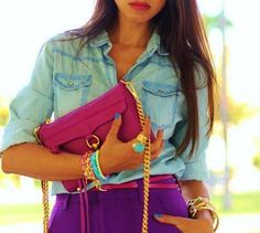 denim shirt with bright, bold colors
