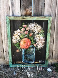 Beautiful happy flowers on mason jar - farmhouse style – rebecaflottarts Painted Window Screens, Painting On Screens, Painted Window Art, Window Paint, Painted Frames, Window Glass, Art Rustique, Diy Iphone Case, L'art Du Vitrail