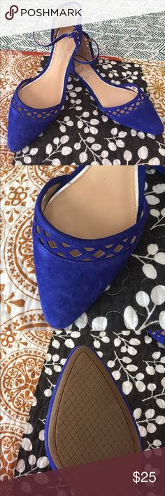 One Day Sale!!! Jessica Simpson Ankle Strap Flats Adorable blue (faux) suede shoes for any day. They have an Ankle Strap and cut out detailing along the toe and back. Never been worn. Jessica Simpson Shoes Flats & Loafers