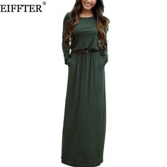76cb2fc5a95a2 EIFFTER Women Long Dress New Casual Spring Autumn Ladies O neck Long Sleeve  Sashes Solid Maxi Dresses Vestidos 0068-in Dresses from Women s Clothing ...