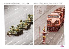 Homem para Tanque de Guerra China em 1989. Índios param um Trem da Samarco, no Mar de Lama em que transformaram o Rio Doce.!...