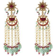 Munnu Diamond, Ruby, Emerald  Pearl Drop Earrings