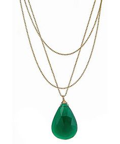 Emerald is the 2013 Pantone Color of the Year. This teardrop shaped necklace is the perfect gift for the fashionista in your life. #emerald #pantone