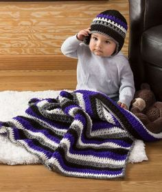 Baby Dude Blanket & Hat Free Crochet Pattern from Red Heart Yarns