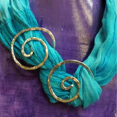 Double swirl scarf slide - Hammered Silver