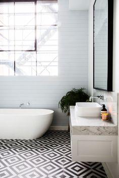 Bathrooms Where Tile Totally Steals the Show | Apartment Therapy Bathroom Interior, Modern Bathroom, Small Bathroom, Tiled Bathrooms, Master Bathroom, Modern Bathtub, Minimal Bathroom, Bathroom Mirrors, Bathrooms Decor