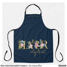 Hair salon hairstylist's name chic typography logo apron Unique Office Supplies, Personalized Aprons, Summer Bbq, Stationery Paper, Christmas Photo Cards, Typography Logo, Craft Party, Laptop Sleeves, Salons