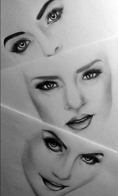 Three faces, three noses, three lips...three expressions