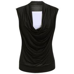 Stylish Women's Short Sleeve Ruffled Spliced Design T-Shirt - BLACK L