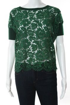 New Valentino Green Wool Lace Short Sleeve Scoop Neck Sweater Size S LL19LL #Valentino #ScoopNeck