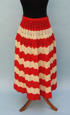 19th C Red/White Knitted Petticoat