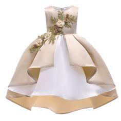 c3b272e296b5 Girls Elegant Princess Dresses Wedding Lace Bridesmaids Formal Gown ...