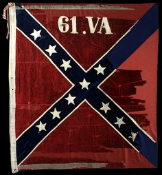 61st Virginia Volunteer Infantry Regiment Battle Flag. The 61st was a regiment in Major General William Mahones division,  This flag was surrendered at Appomattox Courthouse on April 9th 1865. A Connecticut soldier took the flag home. Wool bunting and cotton.