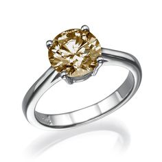 ROUND DIAMOND ENGAGEMENT RING 14K YELLOW GOLD 1.31 CT FANCY NATURAL CHAMPAGNE/SI. To Buy Now http://stores.ebay.com/zamir-diamonds