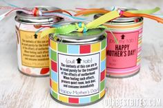 Birthday presents or fun teacher gifts.  Open the can from the bottom, fill with goodies and then glue back on the bottom.  Paper on the outside and you've got a great, CHEAP present.