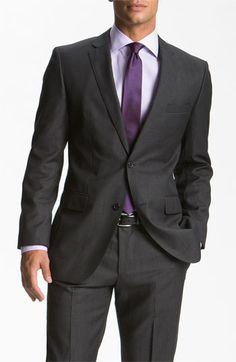 BOSS Black 'Jam/Sharp' Trim Fit Grey Virgin Wool Suit - look for Jon.dark grey suit and purple tie Charcoal Suit, Dark Gray Suit, Black Suits, Dark Grey, Dark Purple, Charcoal Black, Navy Blue, Ny Dress, Gentleman Style