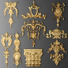 model Cartouches formats MAX, OBJ, MTL, angle architectural baroque, ready for animation and other projects 3d Design Software, Decorative Plaster, 3d Cnc, Wall Molding, Moldings, 3d Studio, 3d Models, Best Interior Design, Wood Carving