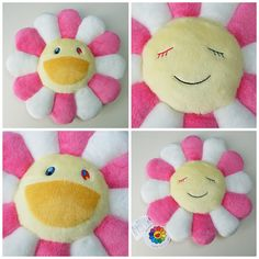 Kawaii Kaikaikiki Takashi Murakami Flower Pillow Cushion (Pink & White - 30cm) - Japan Lover Me Store