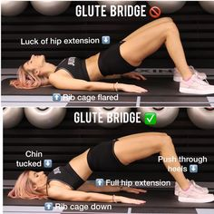 Glute bridges are one of my fav exercise when it comes to glute activation. Besides, glute bridge strengthens the erector spinae, which gives better posture. And it will also teach you how to properly extend your hips (posterior pelvic tilt) and will help you to perform a great and heavy hip thrust. But are you doing it right? try to achieve a full hip extension and big glute squeeze with posterior pelvic tilt; chin tucked and eye gaze forward; rib cage down; push through the hills. Bridge Workout, Glute Bridge, Butt Workout, Hip Thrust Workout, Hip Bridge, Glute Workouts, Boxing Workout, Weight Training, Get In Shape