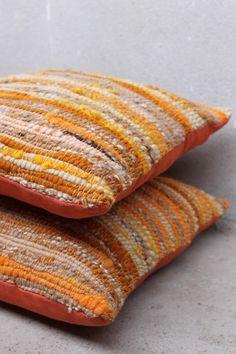 Handwoven Pillow covers from handspun Merino yarn