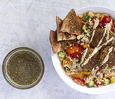 Cook once, eat twice: a Middle-Eastern inspired bowl that is a great way to use up falafel leftovers. Epicure Recipes, Dinners, Meals, Falafel, Lunches, Healthy Eats, Good Food, Middle, Inspired