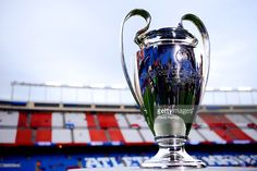 UEFA Champions League trophy is seen ahead of the UEFA Champions League semi final first leg match between Club Atletico de Madrid and FC Bayern Muenchen at Vincente Calderon on April 27, 2016 in Madrid, Spain.
