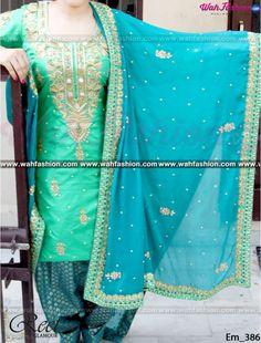 Anushka Sharma Style Turquoise And See Green Punjabi Suit