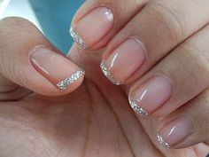 Sparkly silver french manicure