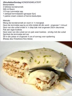 Tart Recipes, Sweet Recipes, Snack Recipes, Cooking Recipes, Veggie Snacks, Lunch Snacks, Milktart Recipe, Dessert Cake Recipes, South African Recipes