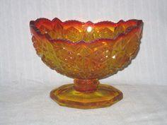 Vintage Amber Hobnail Glass Vase (Despression Era Glass Amberlina Carnival)