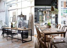 Une table de salle à manger j'en rêve.  Plateau en bois et pied en fer.