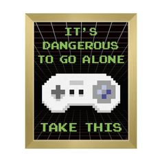 Click Wall Art Take This Super NES Framed Graphic Art on Canvas in Green